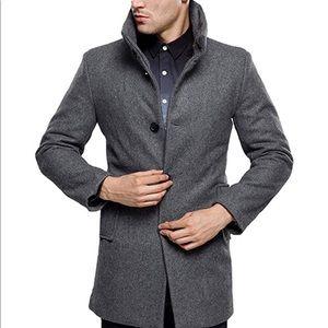 SSLR- Men's British Single Breasted Slim Wool Coat
